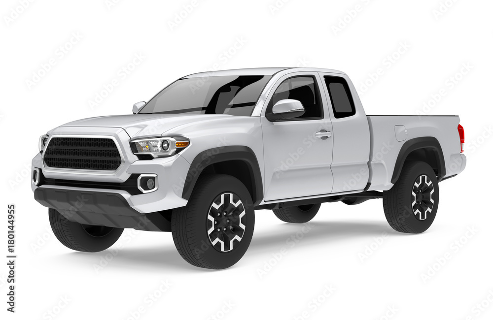 Fototapety, obrazy: Silver Pickup Truck Isolated