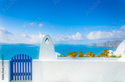 Fototapeta Abstract view of the cycladic style of traditional houses at Santorini, Greece. obraz
