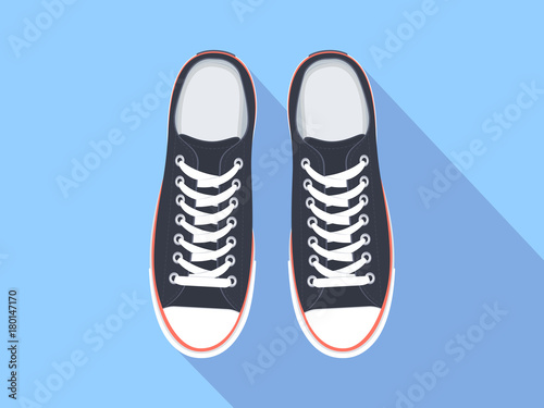 Isolated Shoes Top Sneakers Illustration Flat View Vector Sport x878wq16f