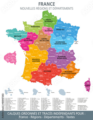 carte de france departement Carte de France, nouvelles régions et départements 1   Buy this