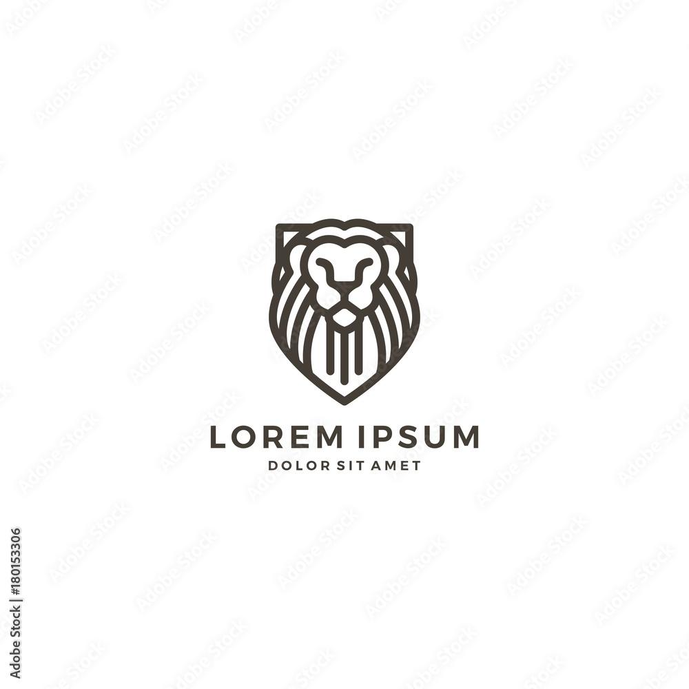 Fototapeta lion shield logo