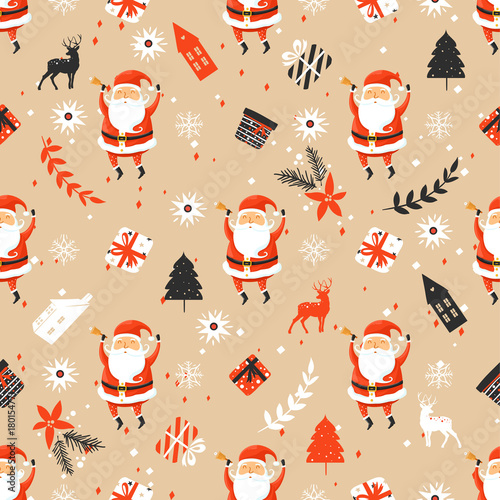 Cotton fabric Merry Christmas seamless pattern with Santa Claus