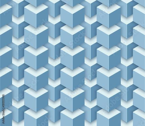 Zdjęcie XXL Wektorowy bezszwowy geometryczny wzór 3d sześciany.