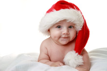 Baby With Santa Hat On White B...