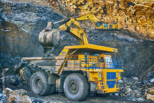 : Duża żółta ciężarówka górnicza w miejscu pracy