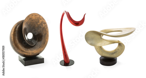 Foto  Modern sculptures isolated on white background
