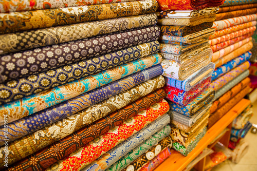Photo  Various Fabric Displayed In Shop