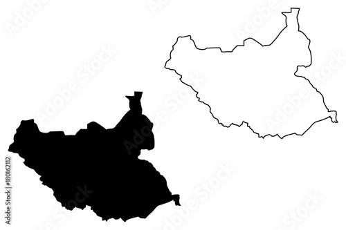Plakat South Sudan map vector illustration, scribble sketch South Sudan