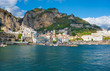 Amalfi, Italy - The awesome historic center of the touristic town in Campania region, Gulf of Salerno, southern Italy. This small town gives its name to the Amalfi Coast.