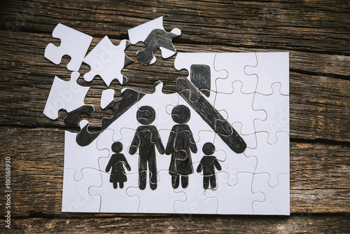 Family concept, puzzle. Canvas Print