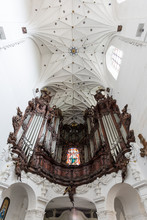 Great Oliwa Organ At The Oliwa Archcathedral In Gdansk, Poland, Viewed From Below.