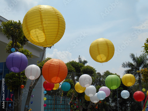 Colorful Anese Paper Lanterns Or Tanglung Hang Outdoor At The Park During Daytime