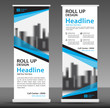 canvas print picture - Blue roll up banner template. Business banner layout. stand out. flyer. pull up. presentation. brochure. poster. advertisement. print media