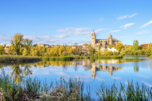 Cathedral Of Salamanca And Bridge Over Tormes River, Spain