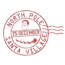North Pole, Santa Village Grunge Rubber Stamp