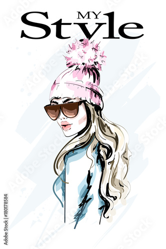 Hand Drawn Fashion Woman In Knitted Hat With Fur Pompom Stylish Beautiful Young Woman Portrait Cute Girl In Winter Clothes Sketch
