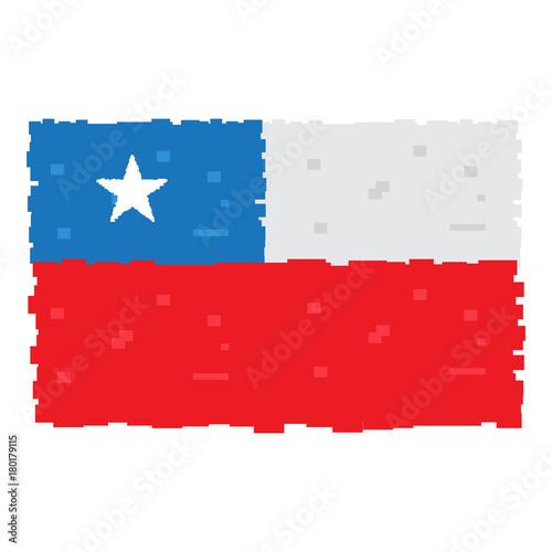 Plakat Pixelated flaga odizolowywająca na białym tle Chile, Wektorowa ilustracja