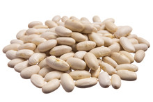 Navy Bean. Pile Of Grains, Isolated White Background.