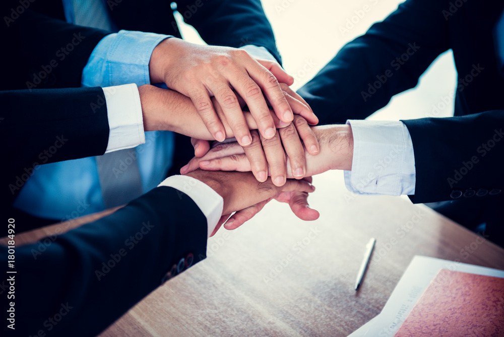 Fototapeta business handshake and teamwork for achievement KPI and goal