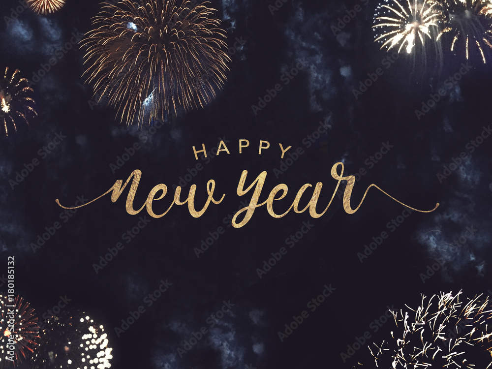 Fototapety, obrazy: Happy New Year Celebration Text with Festive Gold Fireworks Collage in Night Sky