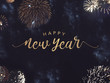 canvas print picture - Happy New Year Celebration Text with Festive Gold Fireworks Collage in Night Sky