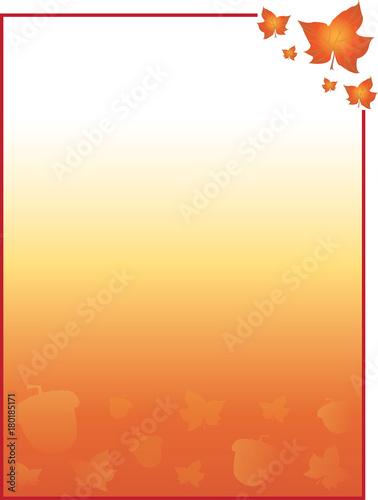 Vászonkép  Fall Autumn Colorful Background Template