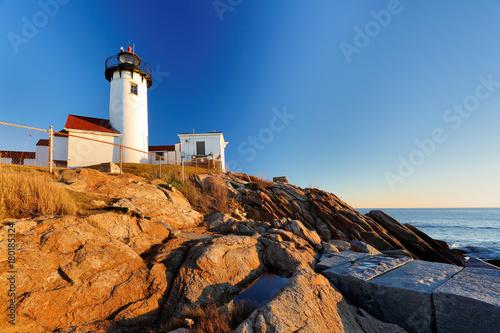 Obraz na plátně Beautiful sunset of Eastern Point Lighthouse at Gloucester, Massachusetts, USA