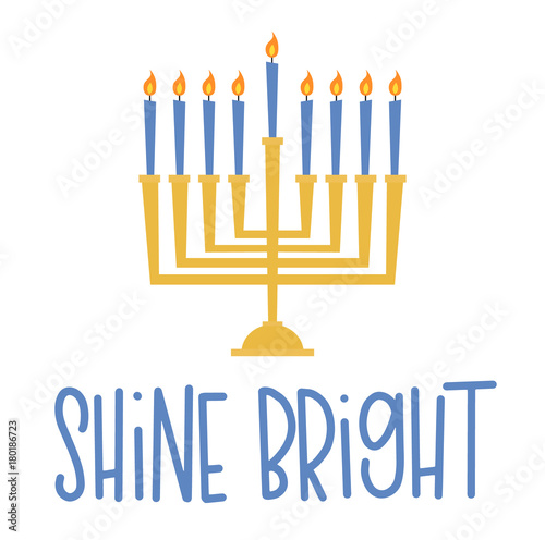Obraz na plátně Vector illustration of a menorah and a Hanukkah greeting