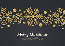 Vector Merry Christmas Happy New Year Greeting Card Design With Gold Snowflake Decoration For Holiday Season.