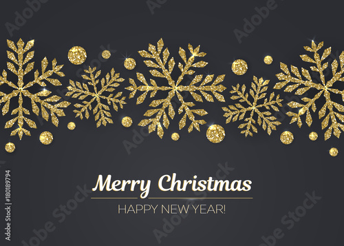 Foto  Vector Merry Christmas Happy New Year greeting card design with gold snowflake decoration for holiday season