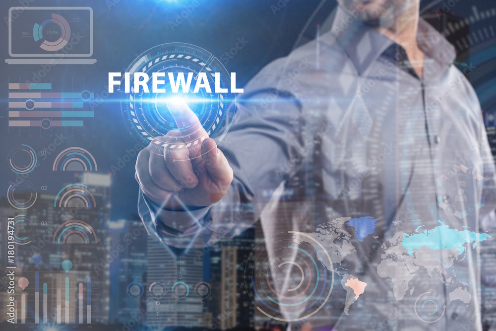 Fototapeta Business, Technology, Internet and network concept. Young businessman working on a virtual screen of the future and sees the inscription: Firewall