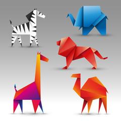 zwierzęta origami zestaw wektor