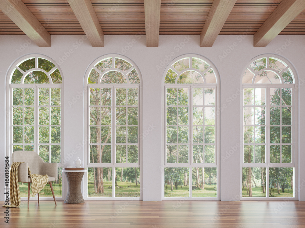 Fototapety, obrazy: Scandinavian living room 3d rendering image.The Rooms have wooden floors and ceilings with white walls .There are arch shape window overlooking to the nature.