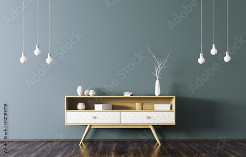 Valokuva  Interior with wooden sideboard 3d rendering
