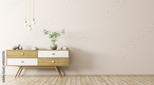 Fotografia, Obraz  Interior with wooden sideboard 3d rendering