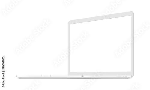 Fototapeta White laptop mockup - 3/4 right view. Responsive screen to display web-site design. Vector illustration obraz na płótnie