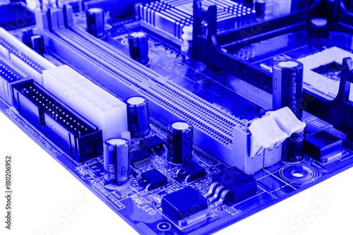 Fotografía  PCI connector slot in motherboard PC toned macro isolate