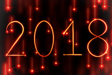 Red Light Painting New Year 2018 On Red Starry Background