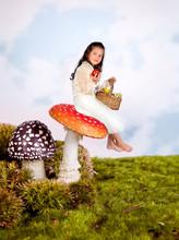 Fairy Tale Girl On Toadstool