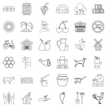 Property Icons Set, Outline Style