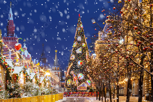 Fotografie, Obraz  Christmas in Moscow. Christmas tree on Red Square