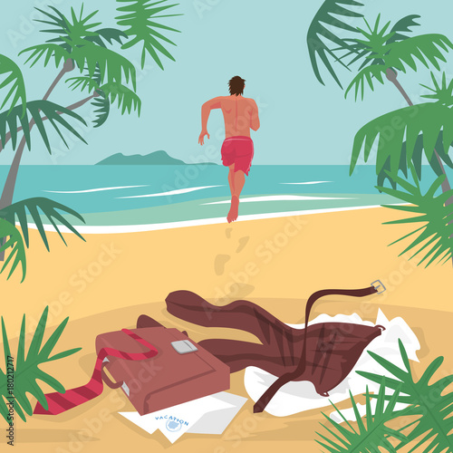 ef9f862860 Young man running on beach to sea to swim, leaving office suit and  briefcase on sand. Lettering Vacation. Freelance concept. Simplistic  realistic comic art ...