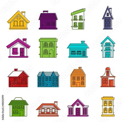 Fototapety, obrazy: House icons doodle set