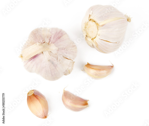Garlic bulb and garlic cloves isolated white background