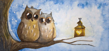 Two Owls In Winter
