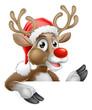 Santa Hat Reindeer Pointing Down from Behind Sign
