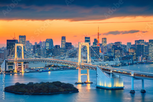 Tokyo. Cityscape image of Tokyo, Japan with Rainbow Bridge during sunset.