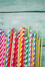 Multicolored Paper Straws On T...