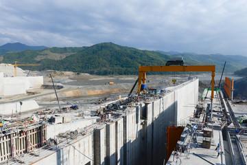 Construction Heavy Working Site Building Xayaburri Dam, Xayaburi, Laos