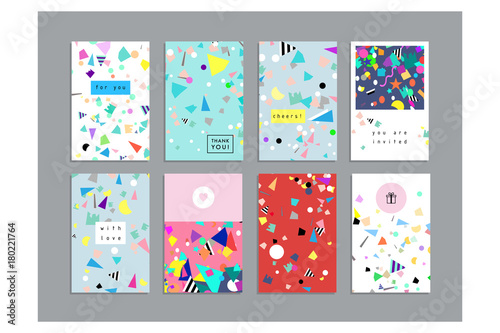 Obraz  Collection of party cards and invitations. Holiday and Birthday backgrounds with confetti. Vector - fototapety do salonu